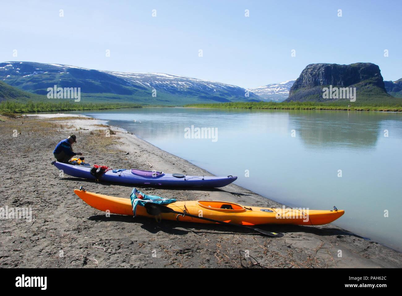 Skierfe - Paddling to the gate of Sarek. Rapaätno delta, Jokkmokk, Sweden. Stock Photo