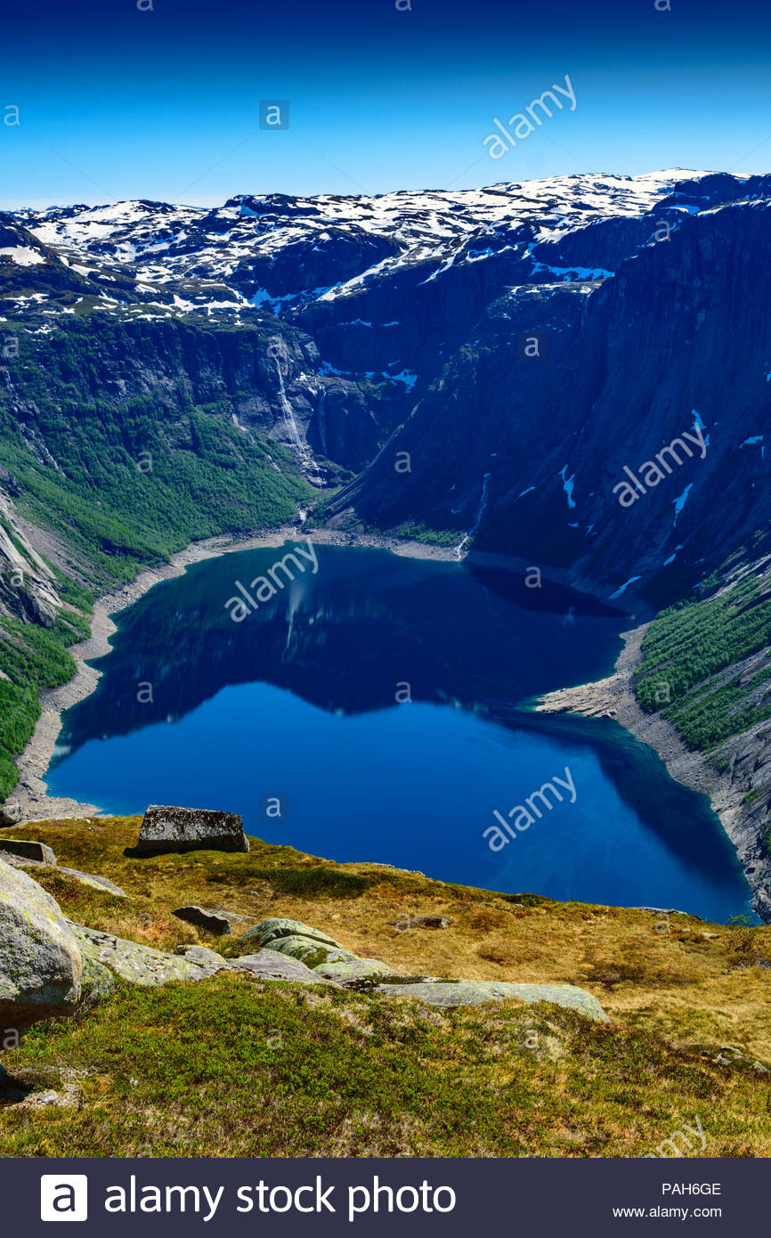 View of Holmavatnet lake about 2 kilometres from summit of Trolltunga in Norway Stock Photo