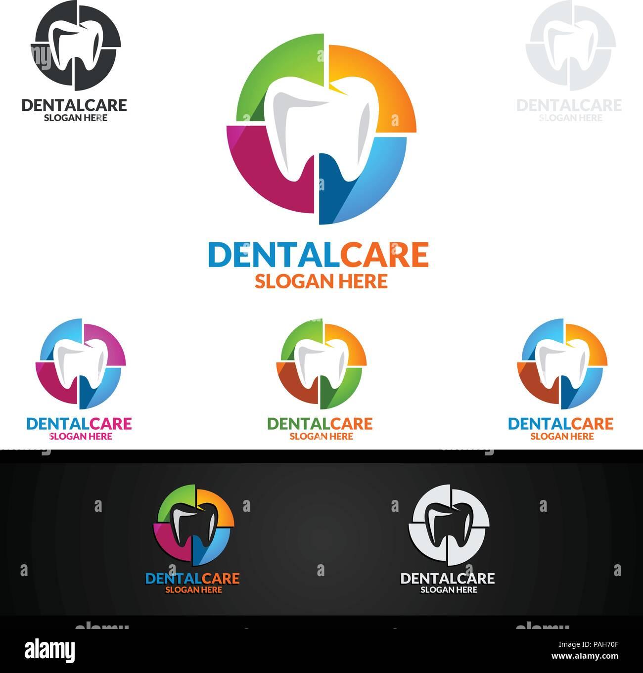 dental logo tooth abstract design vector template dentist