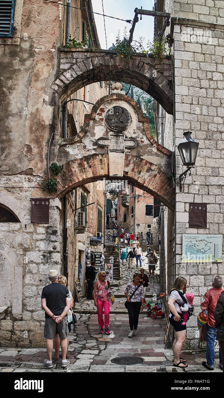 Europe,Montenegro,Kotor city,way until the church of Our Lady of Health Stock Photo