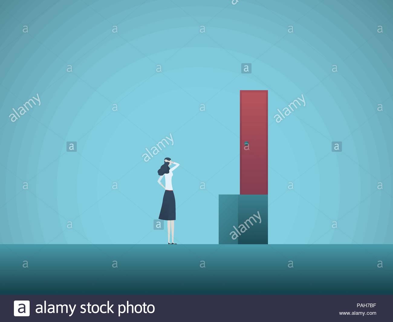 Business Woman Challenge Vector Conept Businesswoman Finding