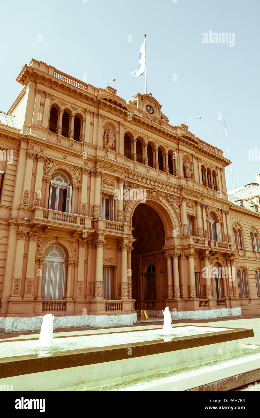 Casa Rosada (Pink House) Presidential Palace of Argentina. May Square, Buenos Aires. Vintage and yesteryear effect - Stock Image
