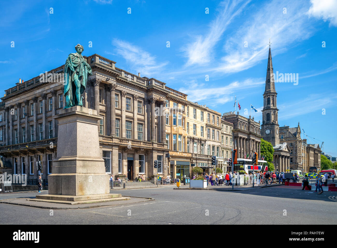 street view of George street at Edinburgh, scotland Stock Photo