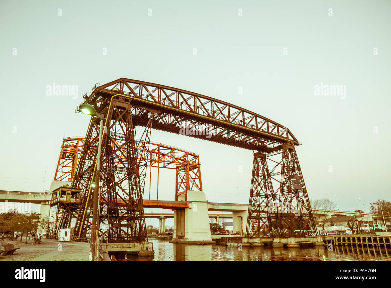 Nicolas Avellaneda Bridge, in La Boca, Buenos Aires, this is a very popular tourist destination in Buenos Aires, Argentina. Vintage and yesteryear eff - Stock Image