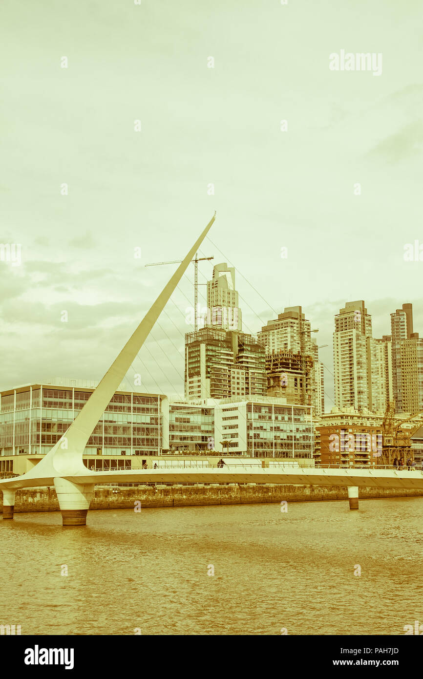 View of the old harbor area (Puerto Madero) by sunset, Buenos Aires, Argentina. Vintage and yesteryear effect - Stock Image