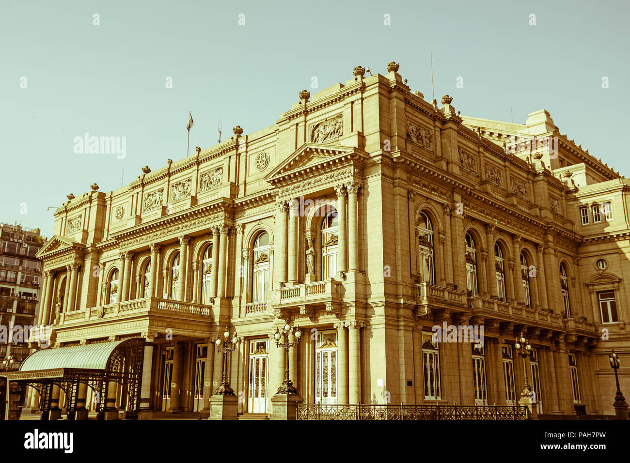 Colon Theatre facade on 9 de julio Avenue at Buenos Aires, Argentina. Vintage and yesteryear effect Stock Photo