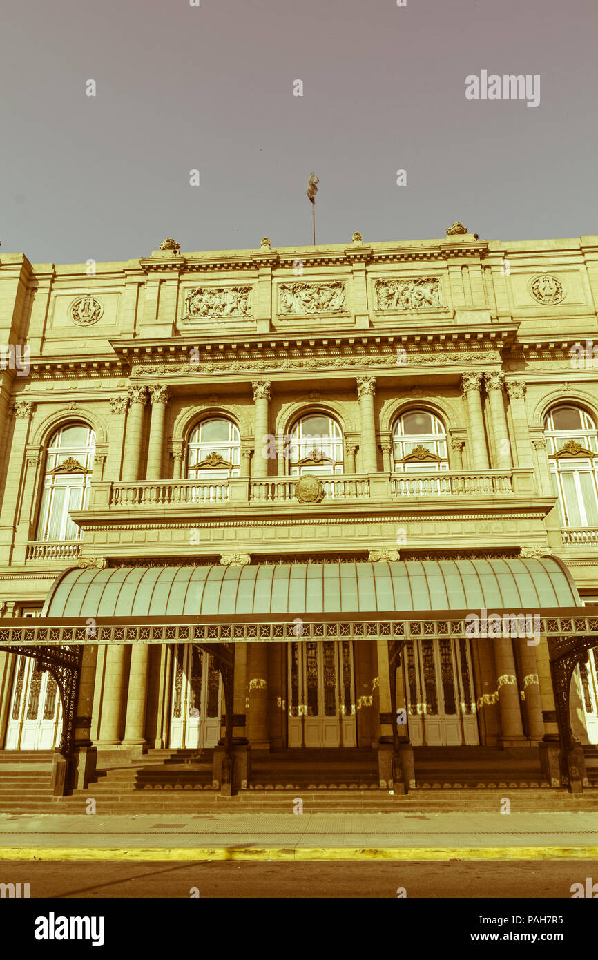 Colon Theatre facade on 9 de julio Avenue at Buenos Aires, Argentina. Vintage and yesteryear effect - Stock Image