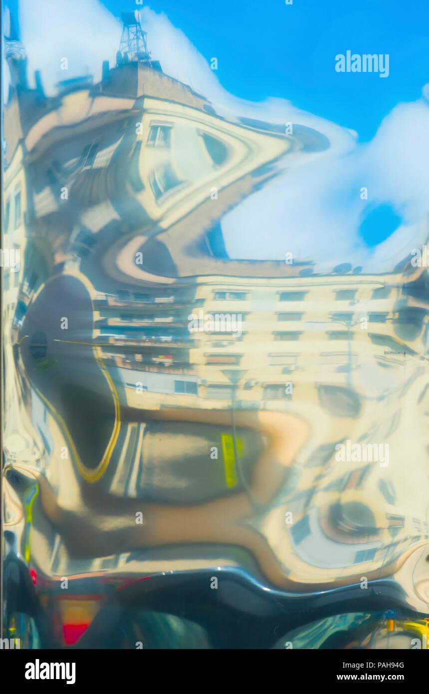 Abstract buildings reflections on metal, Tirana, Albania - Stock Image
