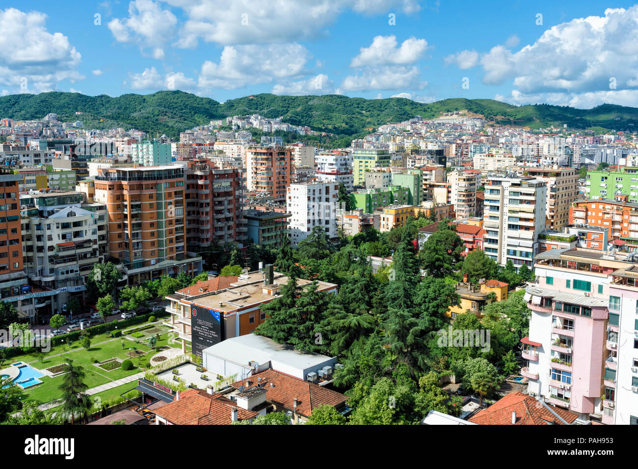 View over Tirana, Tirana, Albania - Stock Image