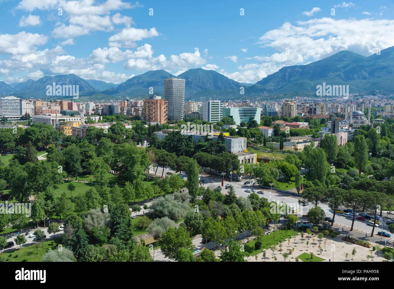View over Tirana, Tirana, Albania - Stock Image