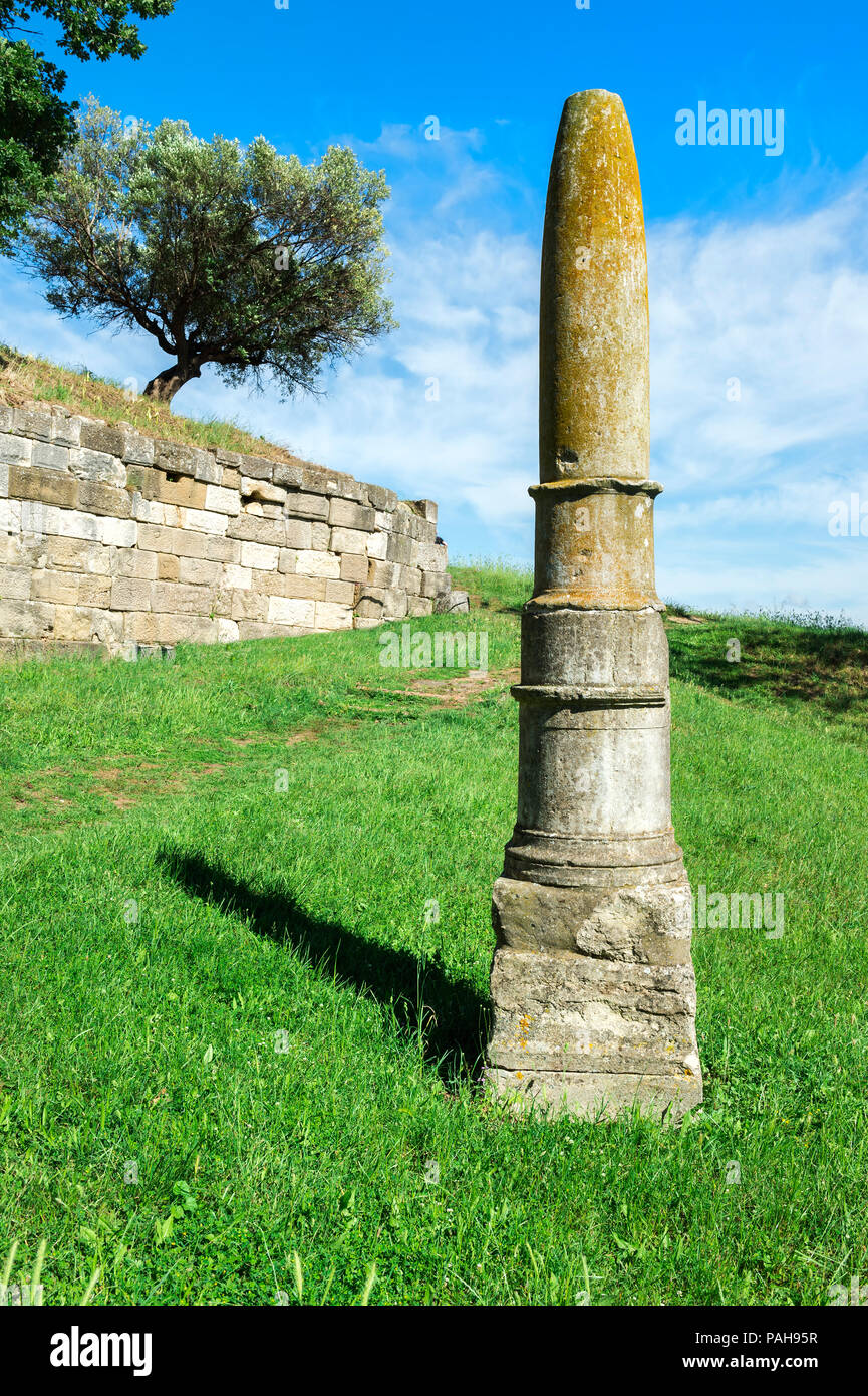 Apollo's Obelisk, Apollonia Archaeological Park, Pojani Village, Illyria, Albania - Stock Image