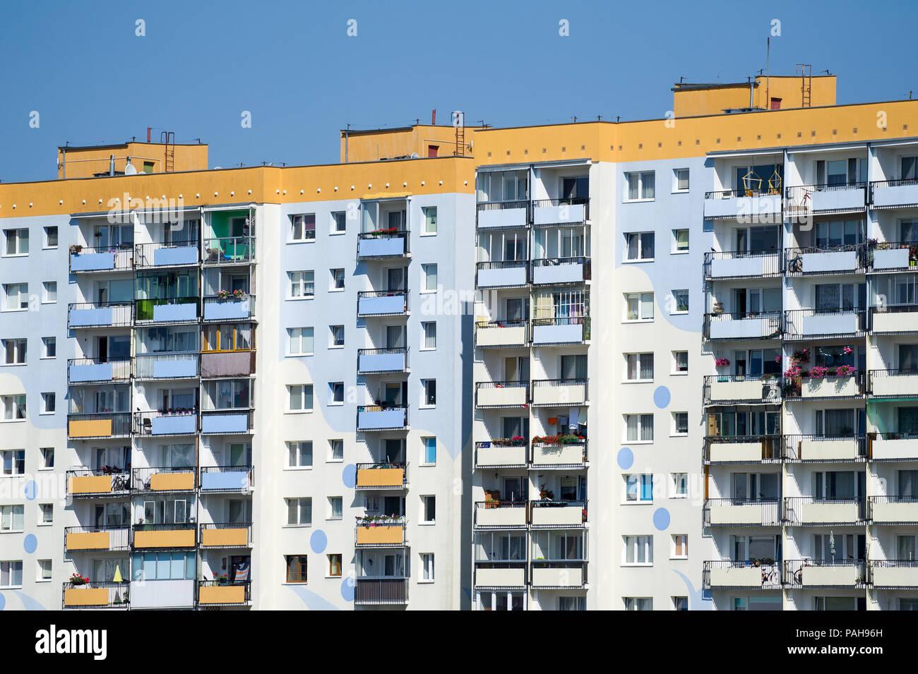 Communist era apartment buildings in Gdansk Zaspa, Poland. July 20th 2018 © Wojciech Strozyk / Alamy Stock Photo - Stock Image