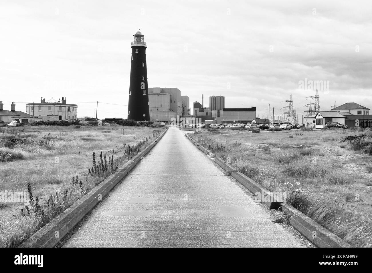 Dungeness Old Lighthouse and Power Station - Stock Image