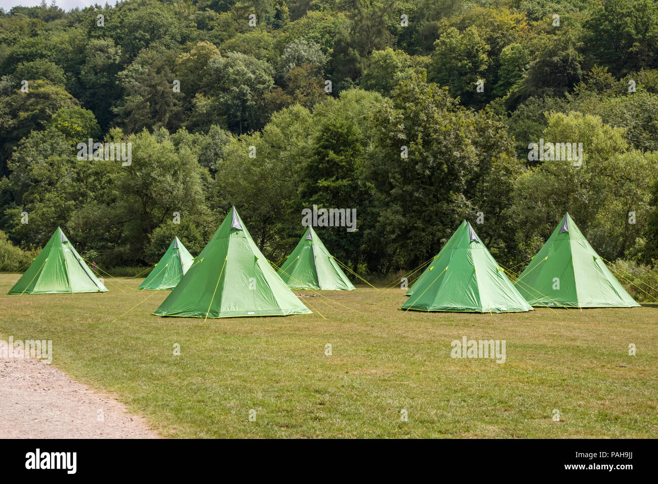 Tipi tents on a campsite, England, UK - Stock Image