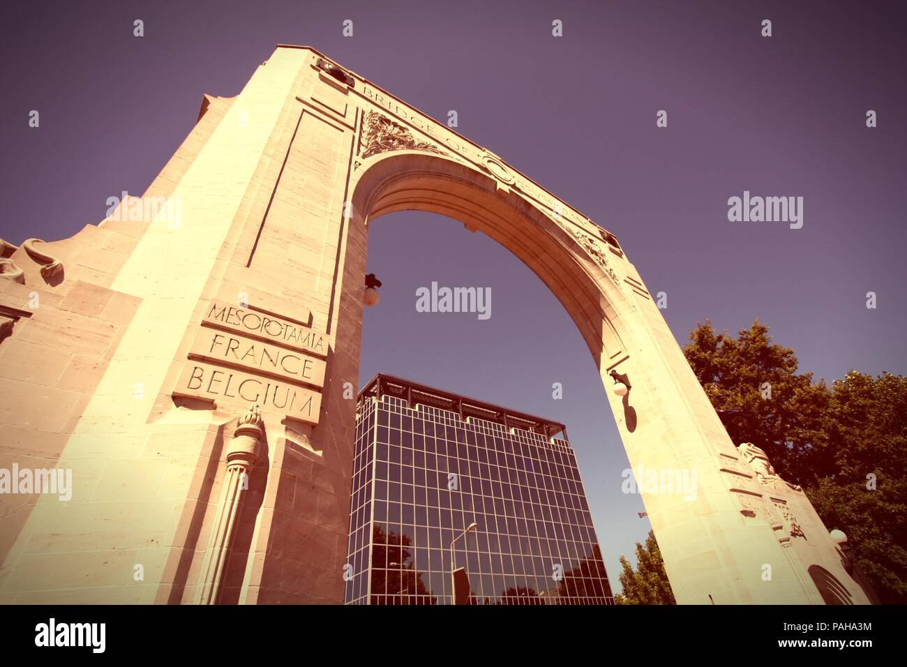 Bridge of Remembrance - War Memorial in Christchurch, New Zealand. Cross processed retro color style. - Stock Image