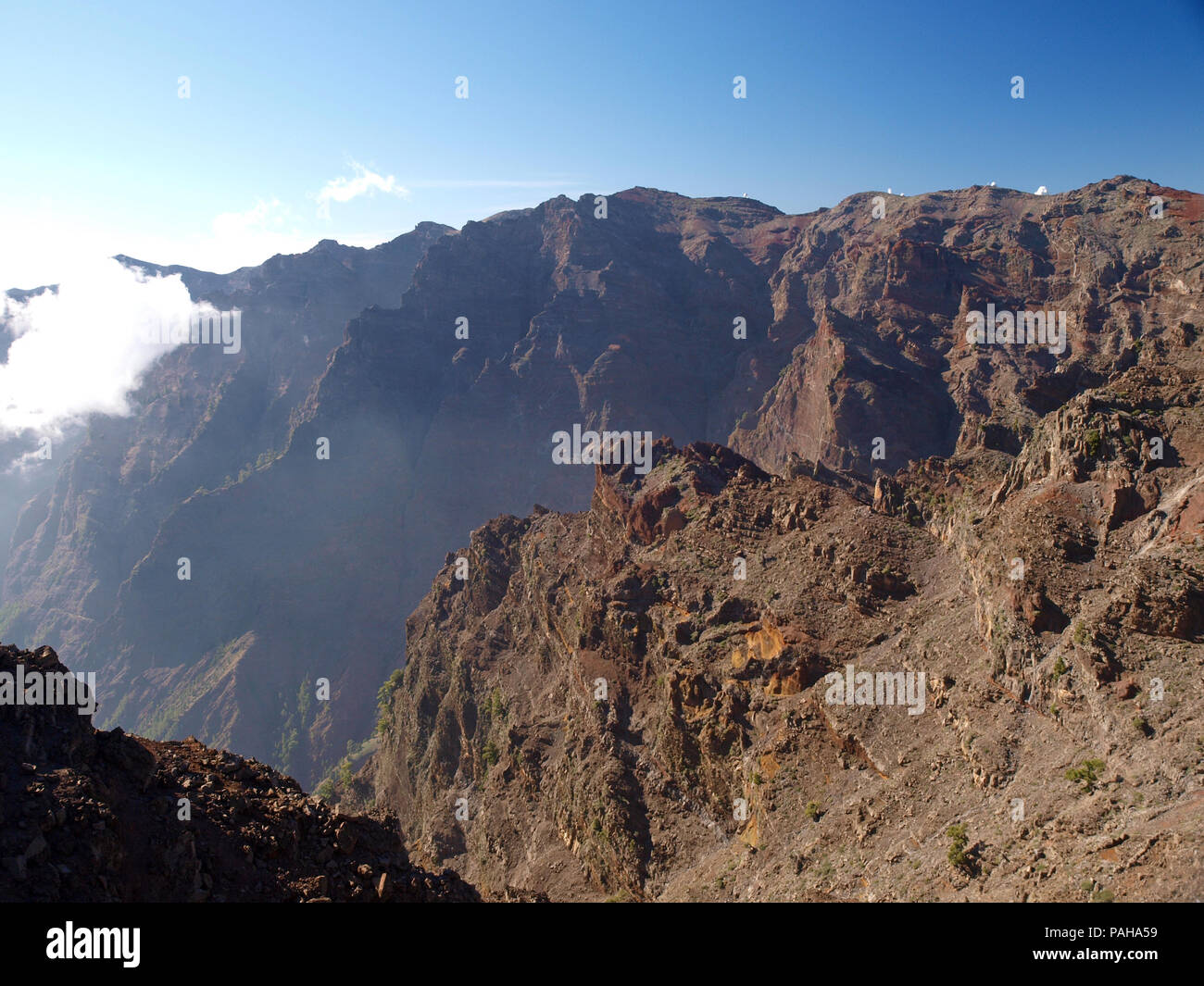 Mists clinging to the sides of the Caldera de Taburiente  on the Canary Island of La Palma - Stock Image
