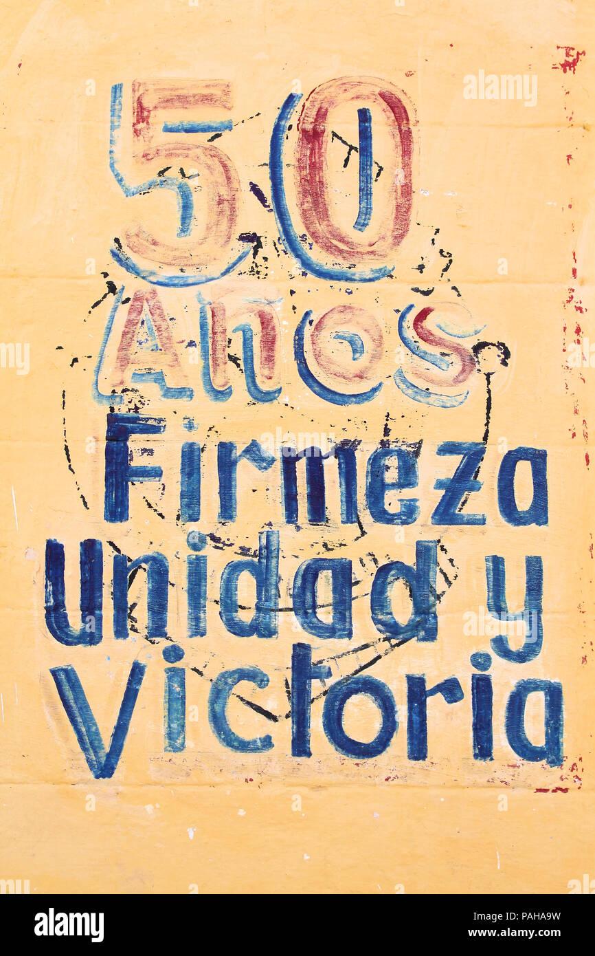 SANCTI SPIRITUS, CUBA - FEBRUARY 6: Wall mural celebrates 50th ...