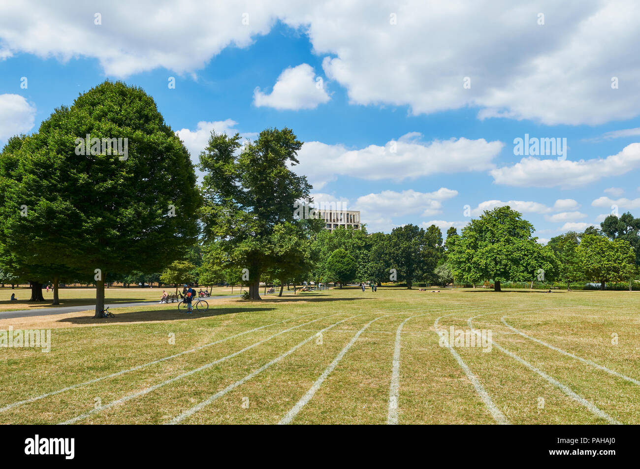 Running track in Clissold Park, North London UK, on a hot day in July 2018 - Stock Image