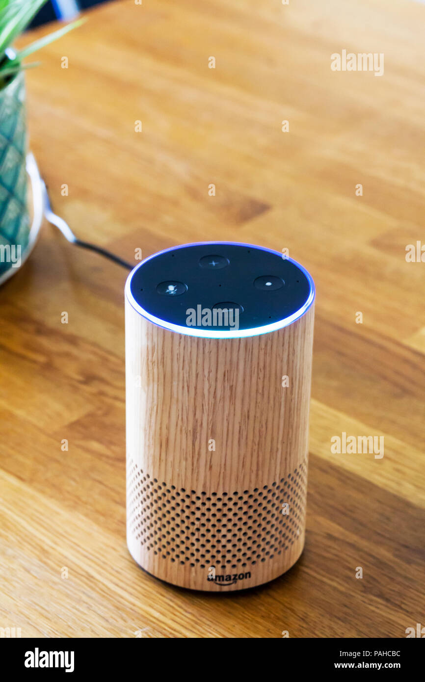 Amazon Echo, Alexa, smart device, smart devices, Smart Speaker, Smart Speakers, voice control, Voice Service, voice-controlled intelligent assistant - Stock Image