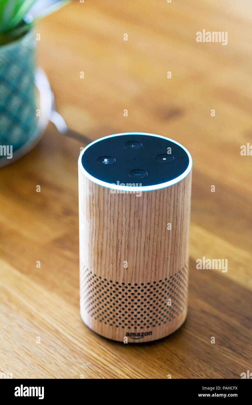 Amazon Echo, Alexa, smart device, smart devices, Smart Speaker, Smart Speakers, voice control, Voice Service, voice-controlled intelligent assistant Stock Photo