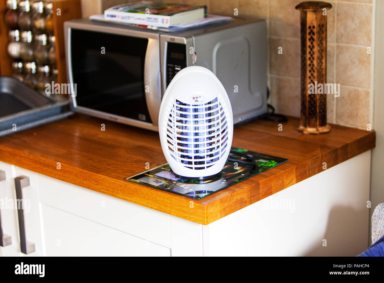 Electric fly killer, fly killing machine, fly zapper, Ultraviolet Lamp, Insect Killer, flying insect killer, Electric insect killing light, fly killer - Stock Image