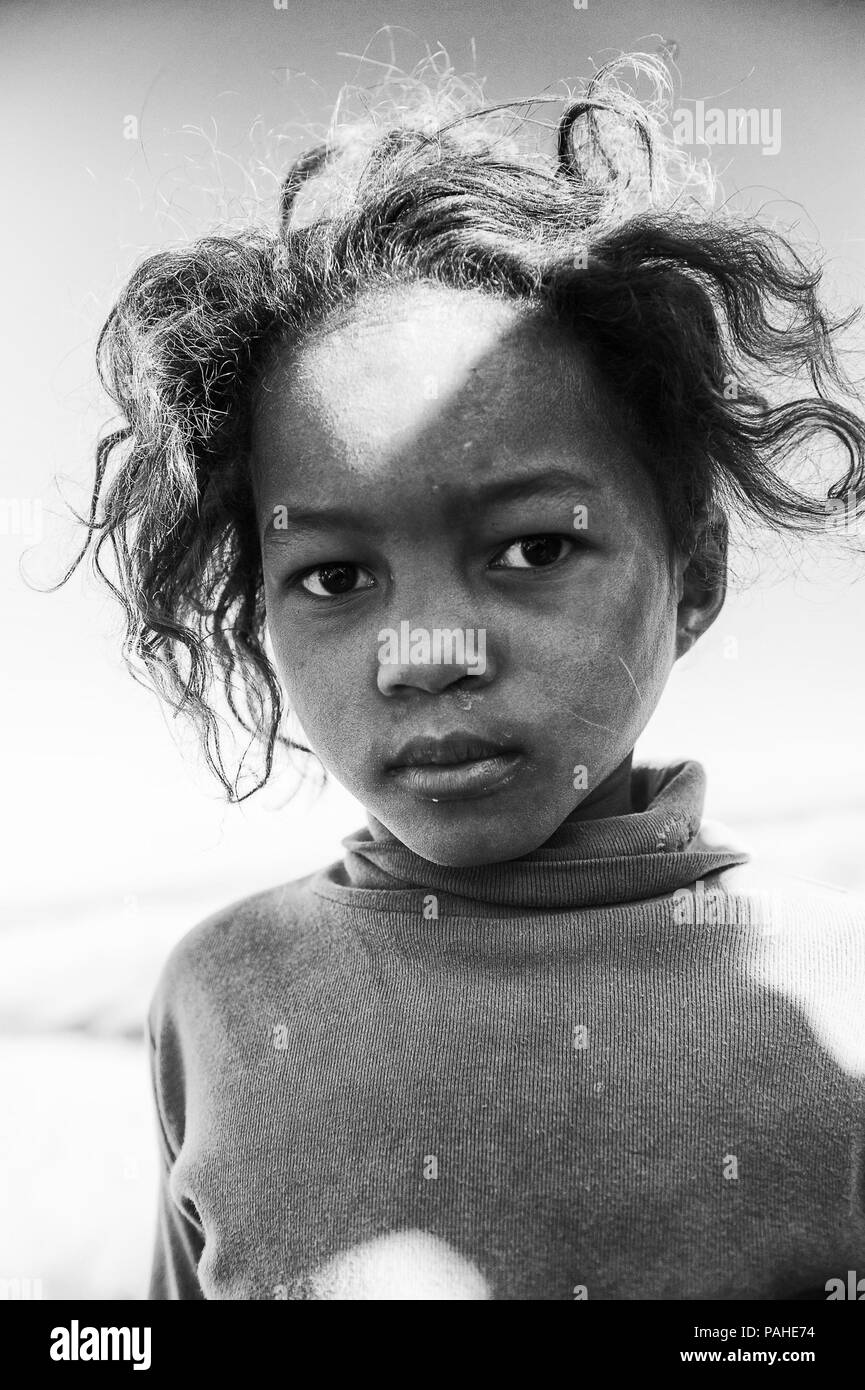 Madagascar july 3 2011 portrait of an unidentified beautiful girl in a violet