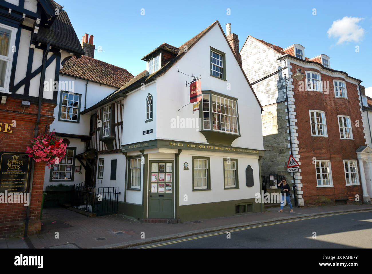 Bull house, Lewes, one time home of political activist and philosopher Thomas Paine and now home to Sussex Archaeological Society. - Stock Image