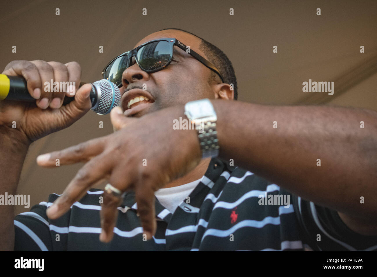 Bruse Wane along with DJ Ether opened up for EPMD on July 19,2018 at the NJ PAC - Stock Image
