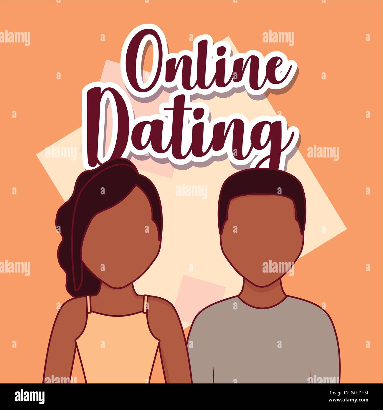 Online dating design with avatar couple over orange background, colorful design. vector illustration Stock Vector