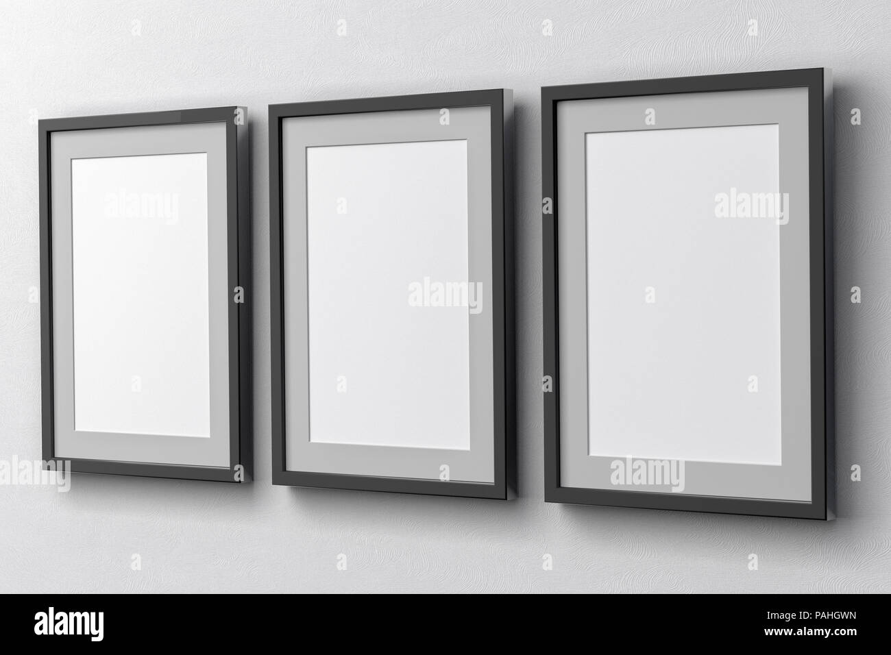 6f9fe4214b8 Blank three vertical posters on the white wall with dark frame and clipping  path around poster. 3d illustration