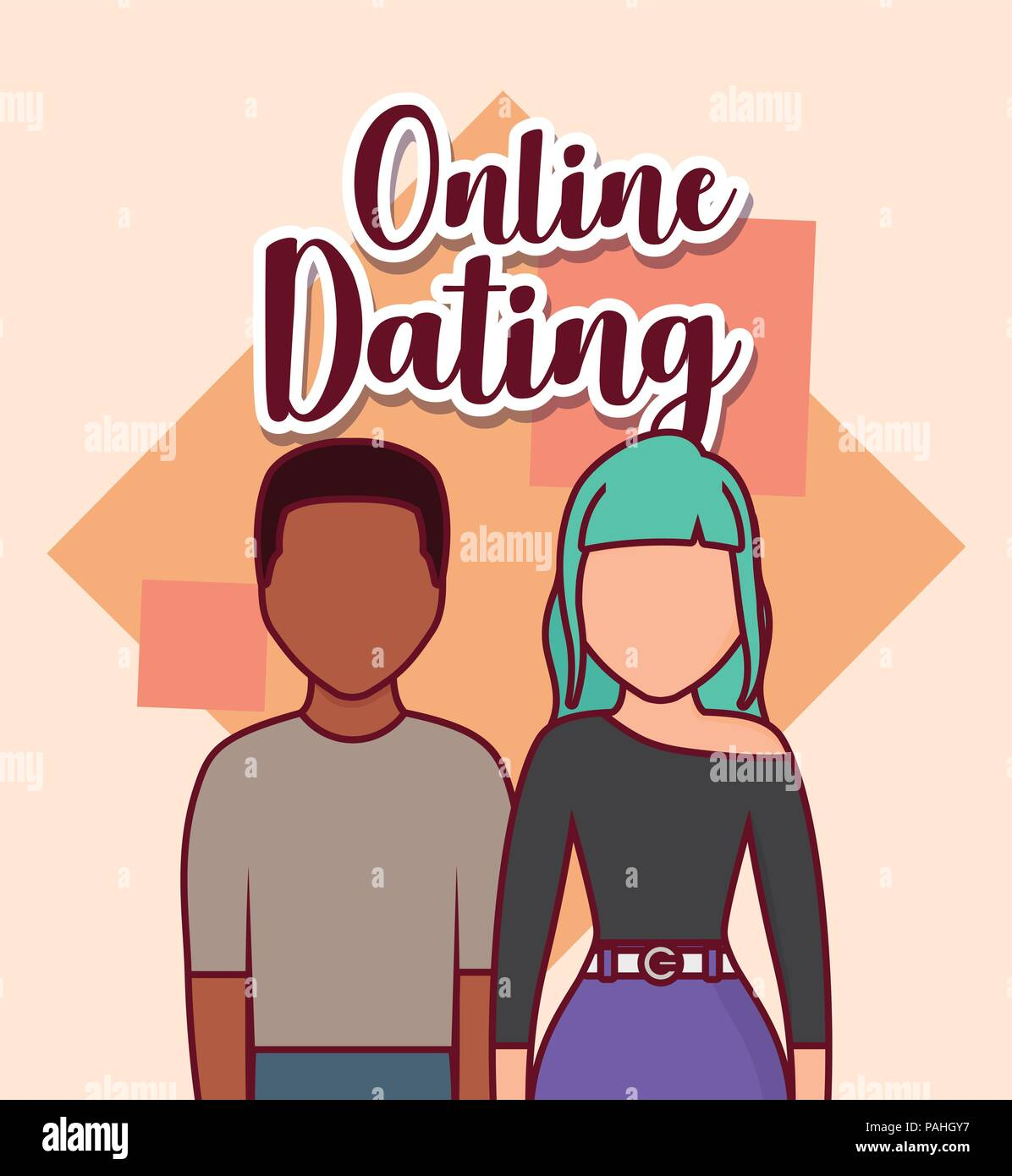 Online dating design with avatar couple over white background, colorful design. vector illustration Stock Vector