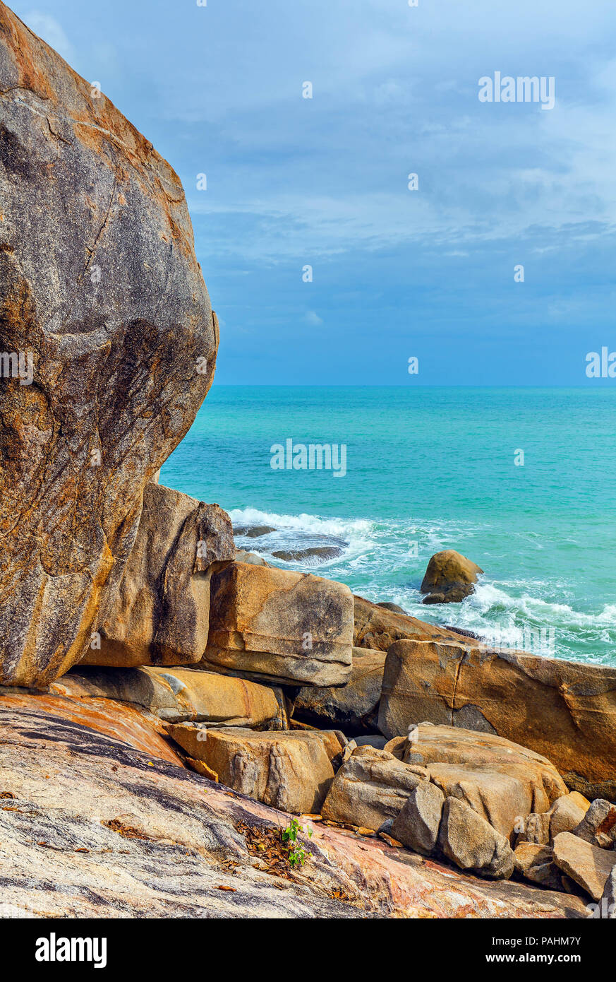 Rocky coast of Koh Samui in Thailand. - Stock Image