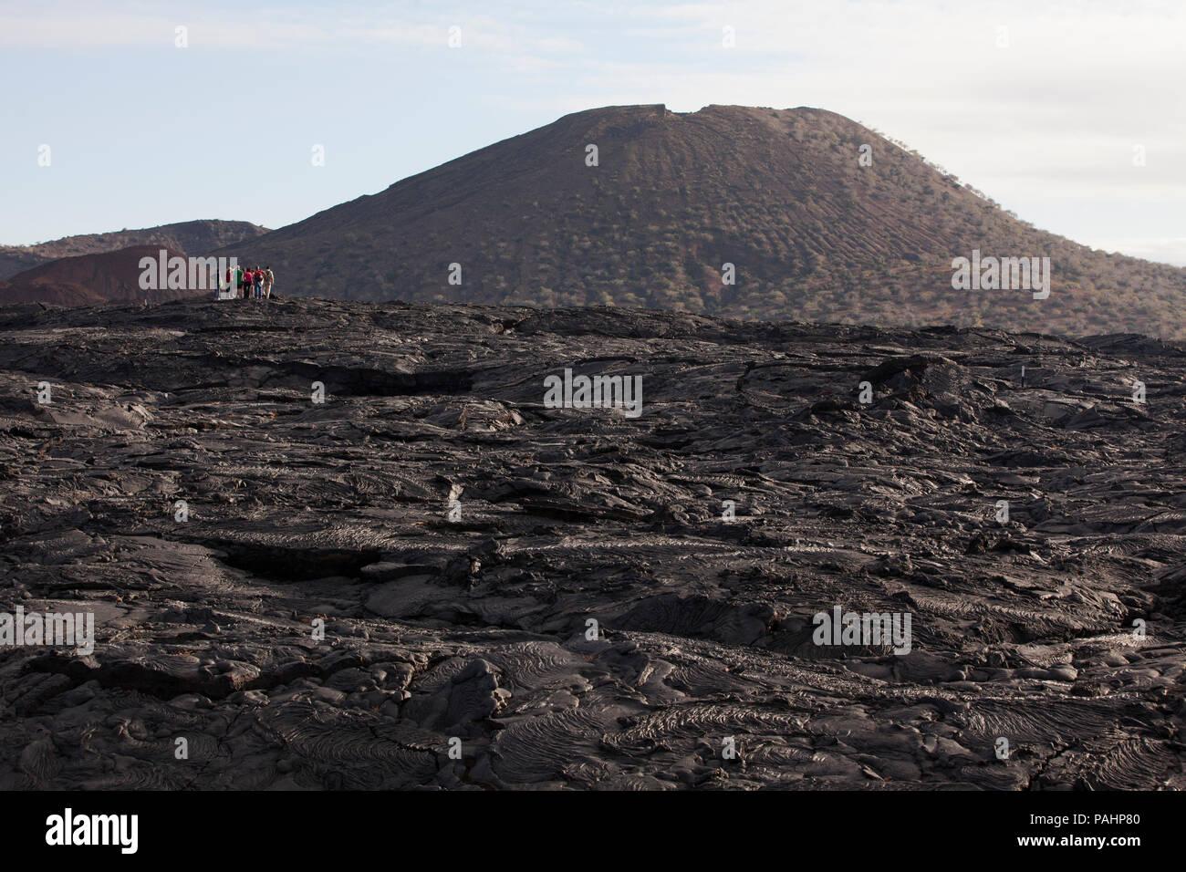 Volcanic Landscape of Lava, Santiago Island, Galapagos Islands Stock Photo