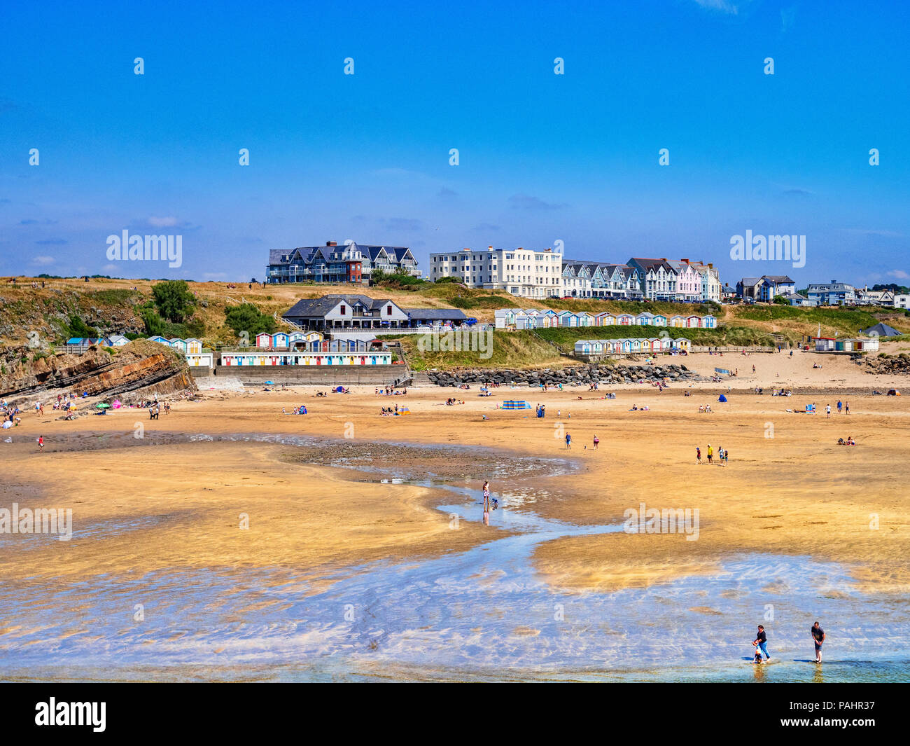 6 July 2018: Bude, Cornwall, UK - The beach during the summer heatwave. - Stock Image