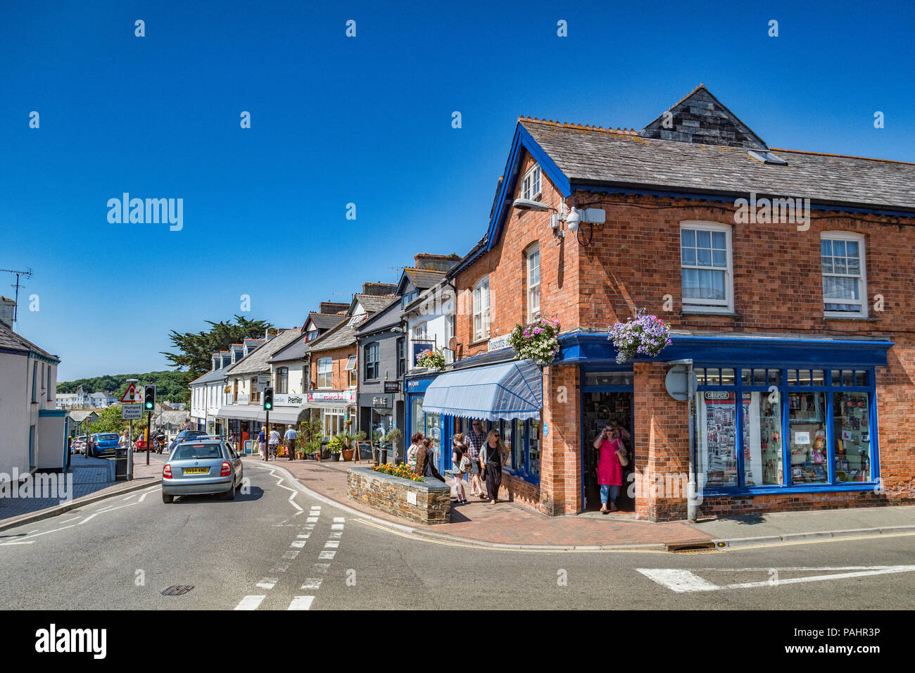 7 July 2018: Bude, Cornwall, UK - Shopping in Lansdown Road, Bude, Cornwall, UK - Stock Image