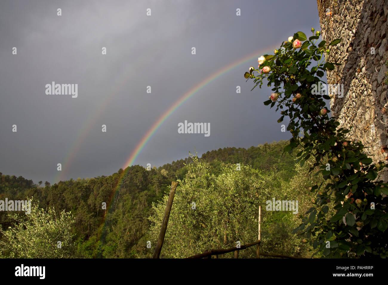 Double rainbow against dark sky - Stock Image