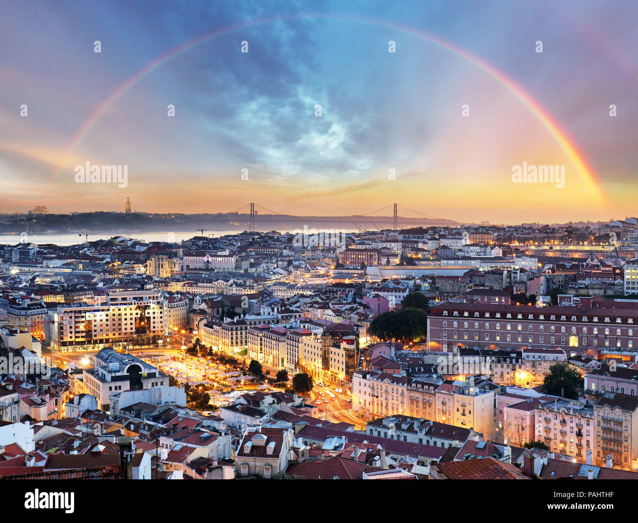 Lisbon with rainbow - Lisboa cityscape, Portugal - Stock Image