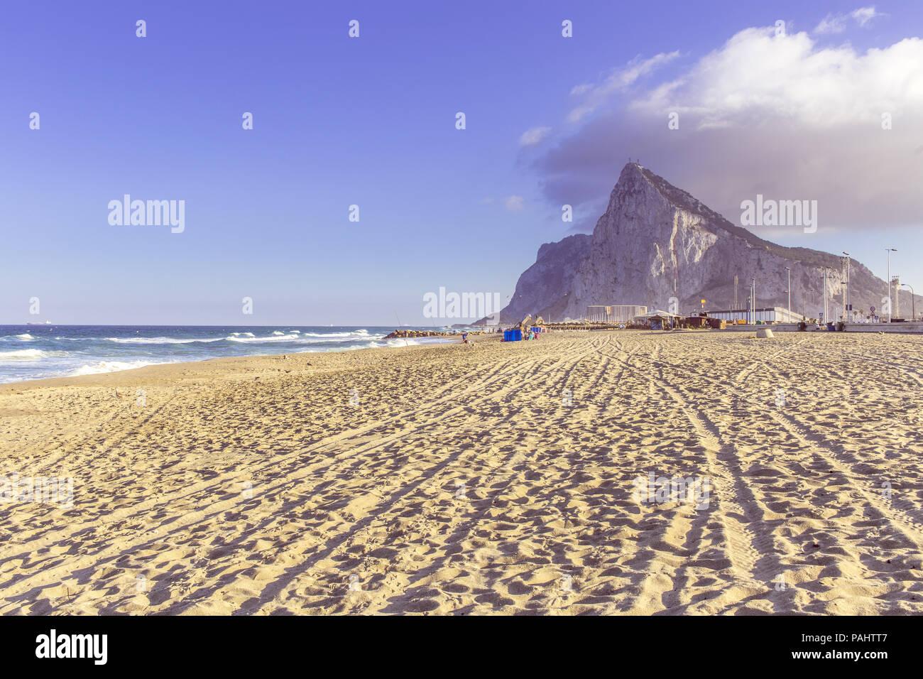 View to the rock of Gibraltar from The beach of La Linea de la concepción Stock Photo