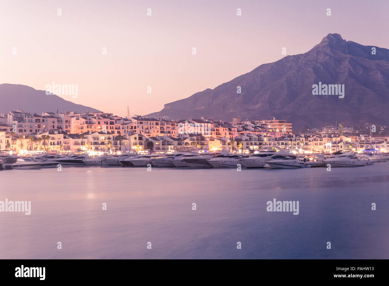 The Yacht Harbour of Puerto Banus, Andalucia, Spain on a hot summer evening. Stock Photo