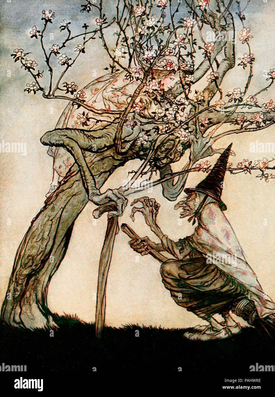 Tree of Mine, Oh Tree of Mine! Have you seen my naughty little maid! English Fairy Tale. Stock Photo