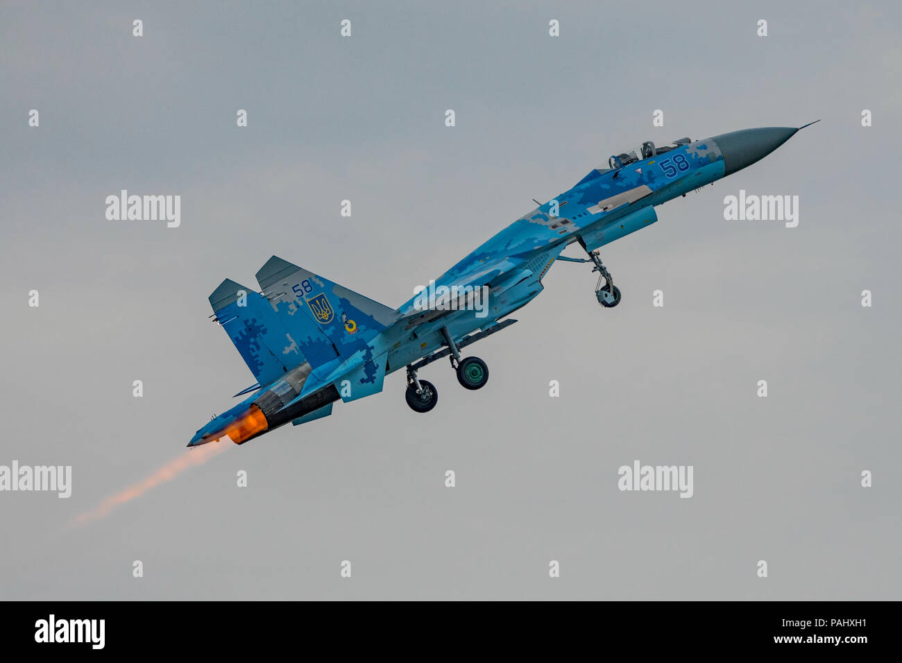 Sukhoi Su-27P 'Flanker' of the Ukrainian Air Force displaying at the Royal International Air Tattoo, RAF Fairford, UK on the 13th July 2018. - Stock Image