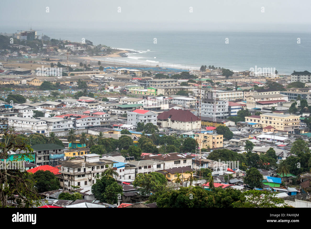 An elevated view of the city of Monrovia, Liberia - Stock Image
