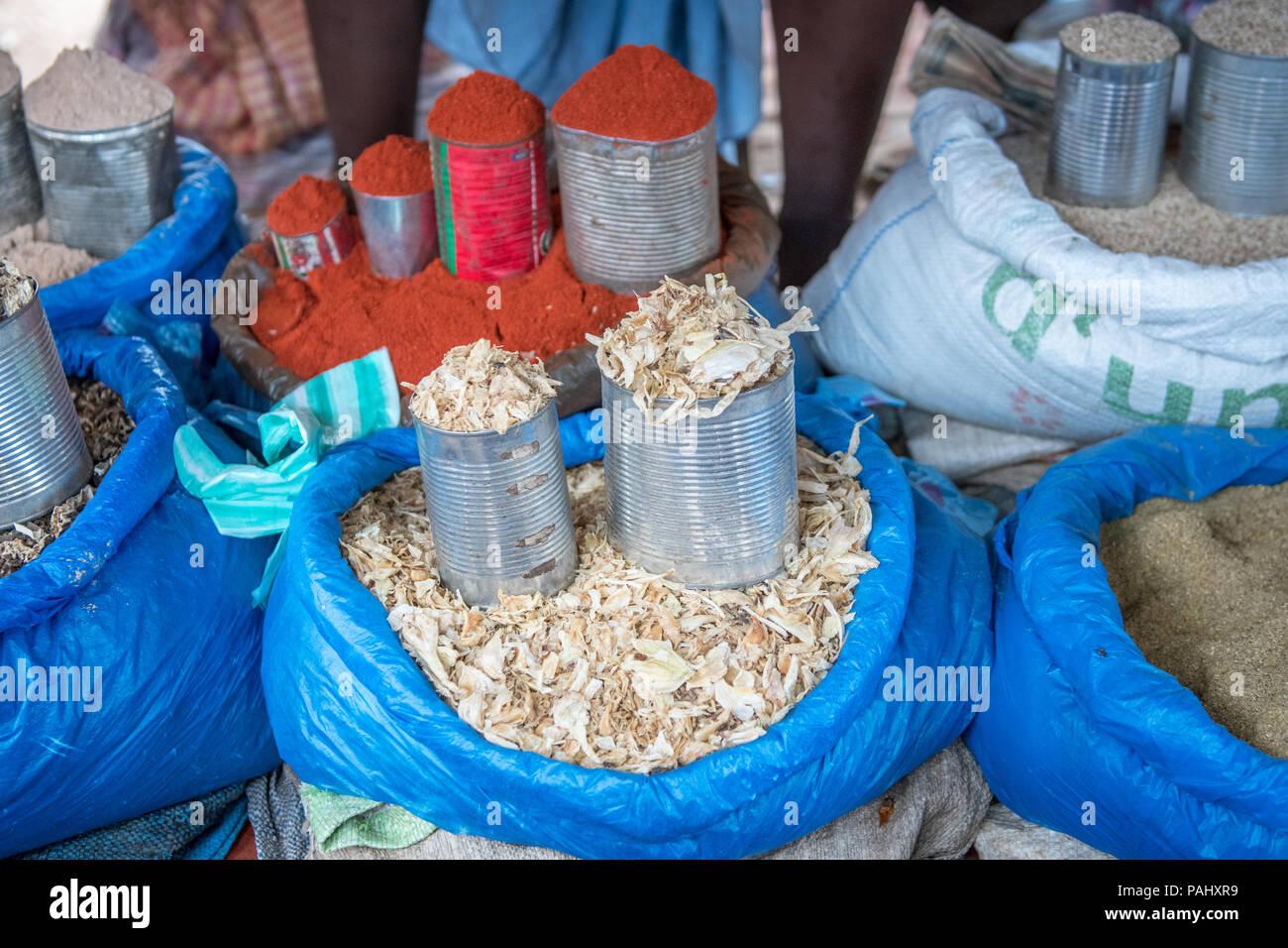 Spices piled up Ganta, Liberia - Stock Image