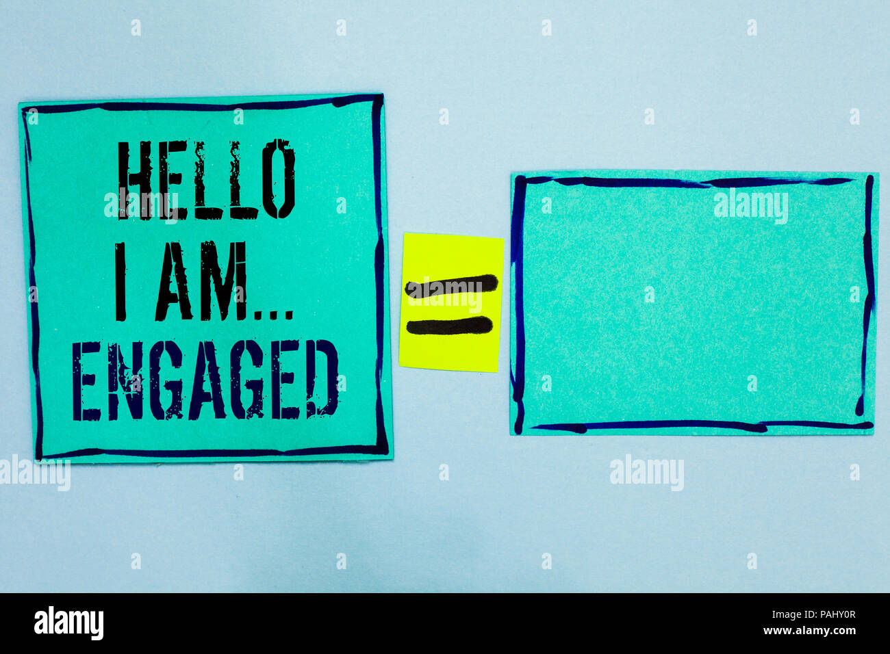 Word writing text Hello I Am... Engaged. Business concept for He gave the ring We are going to get married Wedding Black lined green sticky notes blan - Stock Image