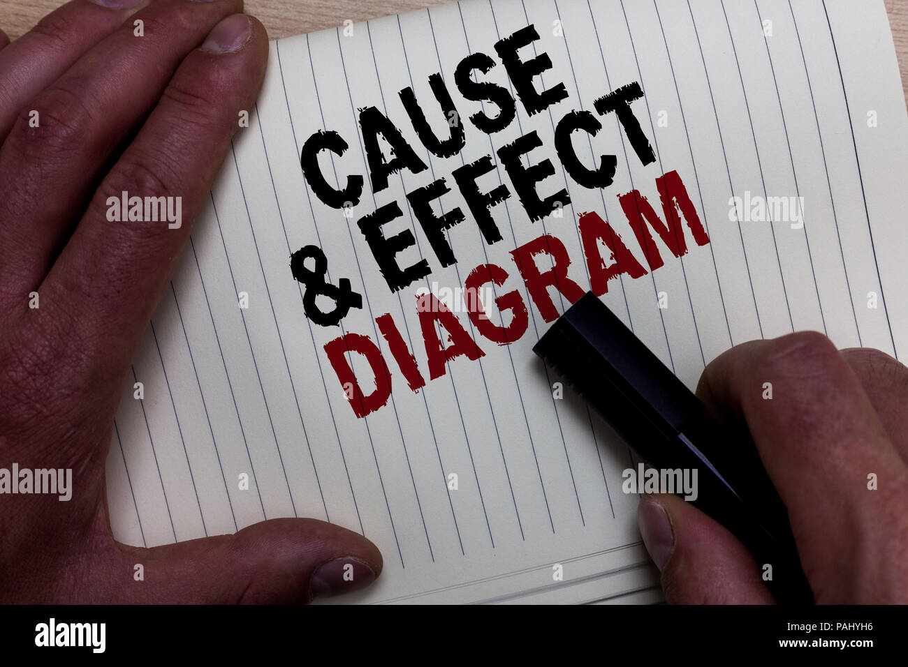 Word writing text Cause and Effect Diagram. Business concept for Visualization tool to categorize potential causes Man's hand grasp black marker with  Stock Photo