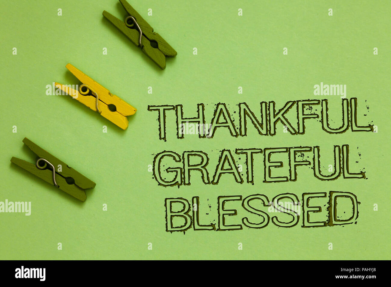word writing text thankful grateful blessed business concept for appreciation gratitude good mood attitude outline words green middle yellow paper cl