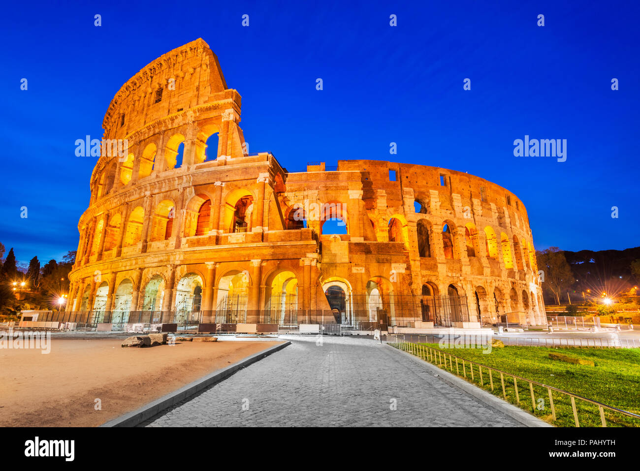 Rome, Italy. Colosseum, Coliseum or Coloseo,  Flavian Amphitheatre largest ever built symbol of ancient Roma city in Roman Empire. - Stock Image