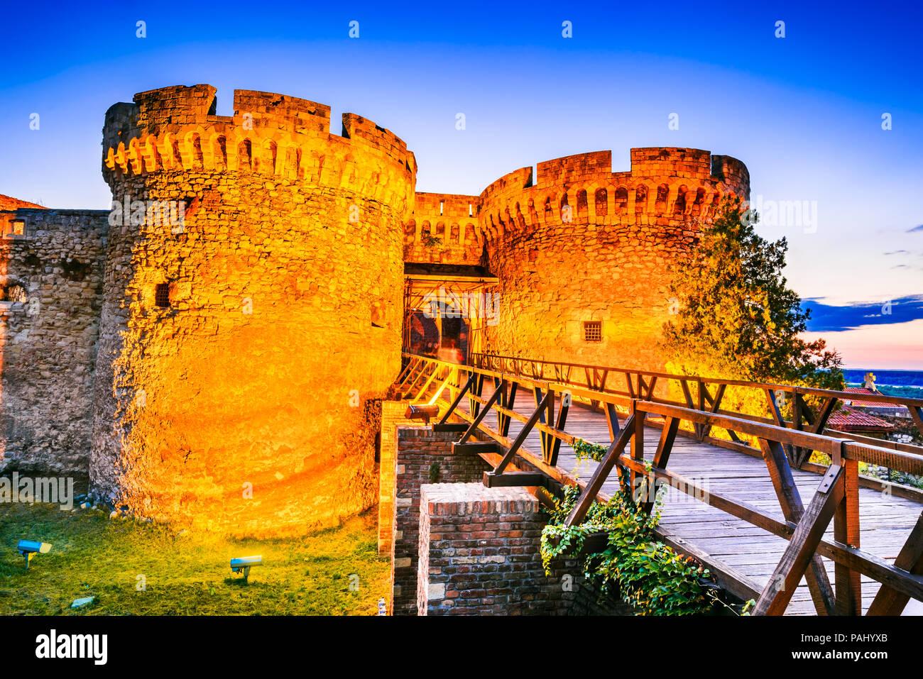 Belgrade, Serbia. Kalemegdan Fortress in the night, ancient Singidunum. - Stock Image