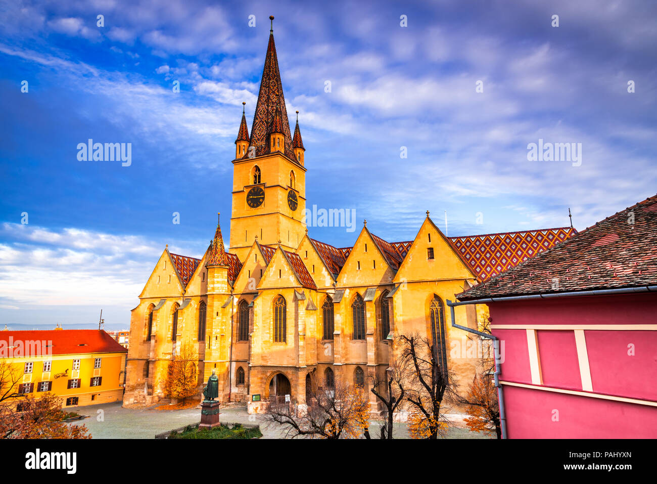 Sibiu, Romania. Evangelical Cathedral in the center of Sibiu, Transylvania, European Capital of Culture for the year 2007. Stock Photo
