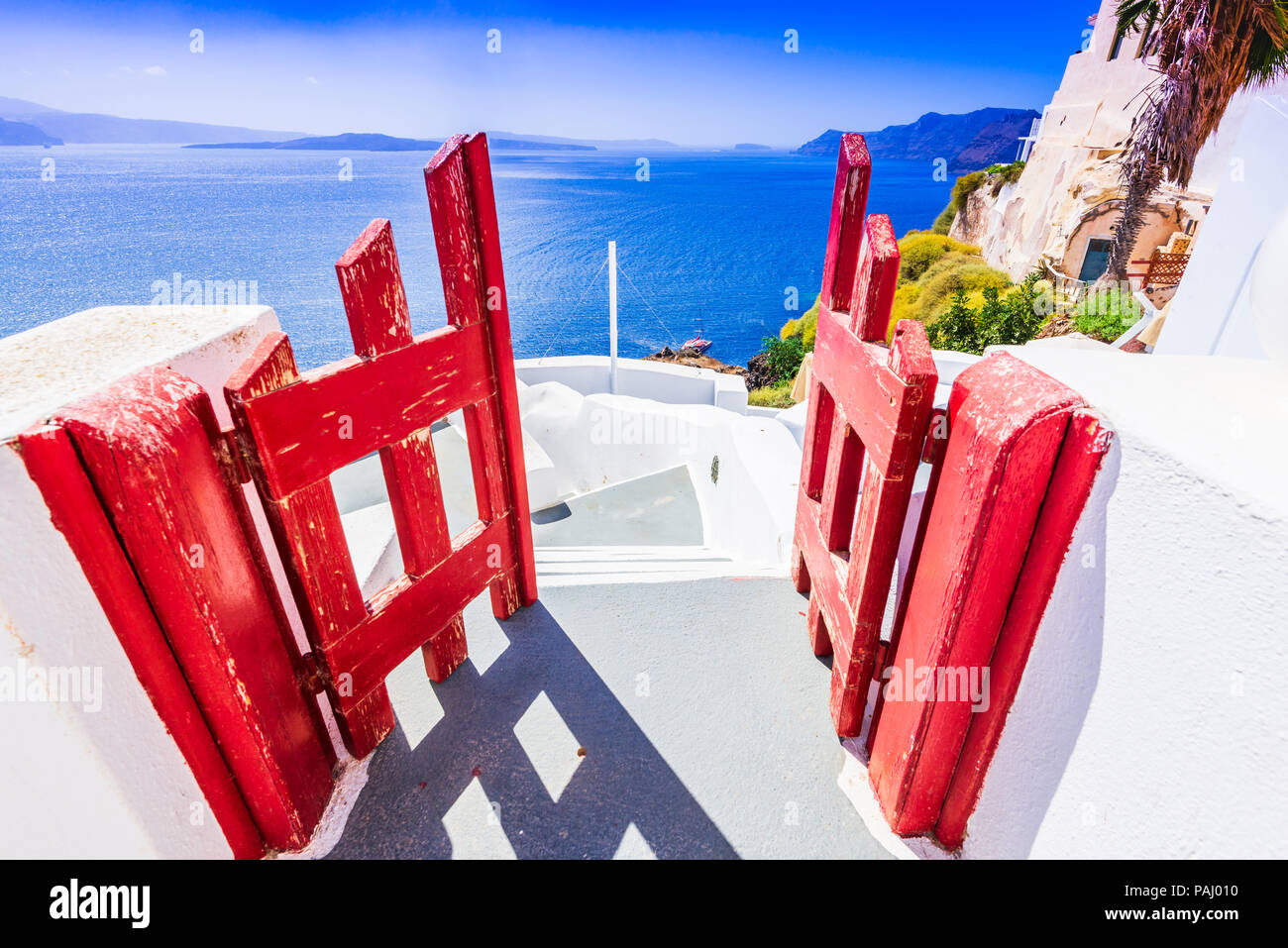 Santorini, Greece. Whitewashed city of Oia, Thira in Greek Islands, Aegean Sea. - Stock Image